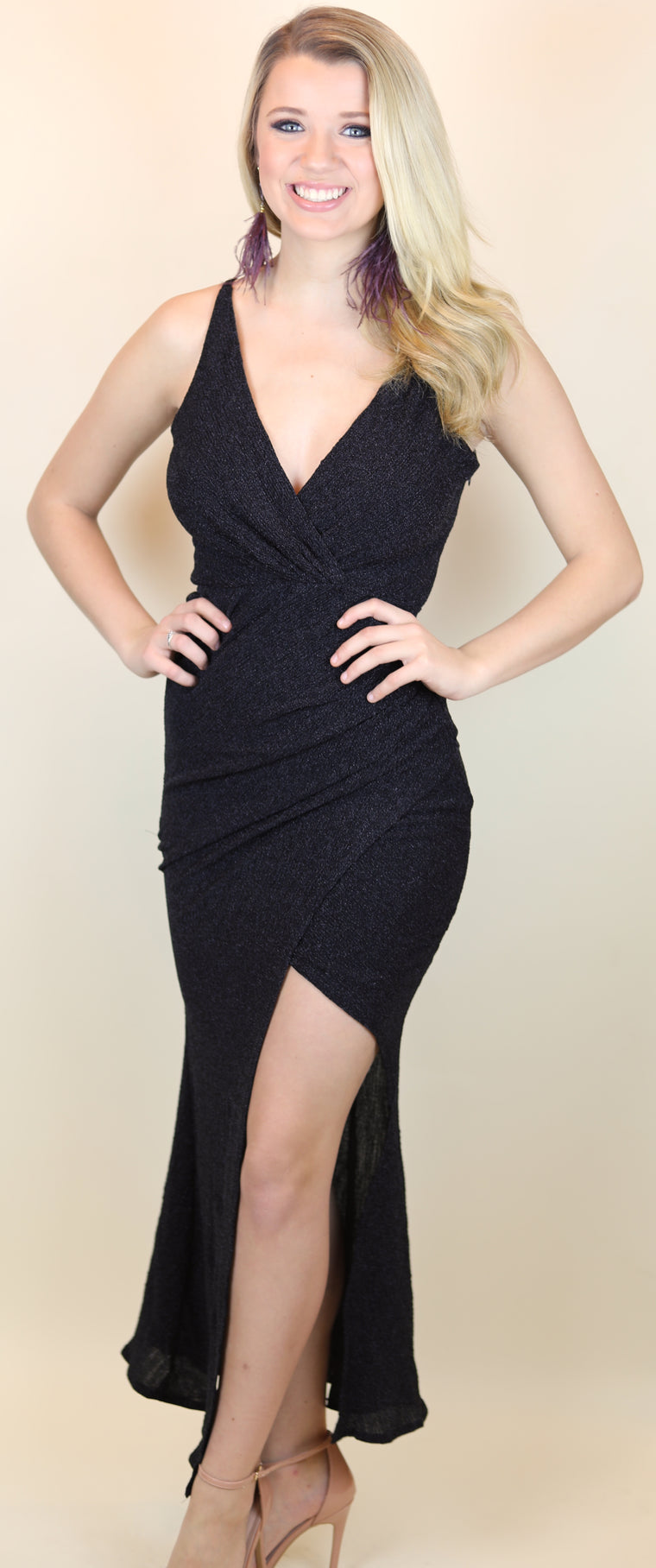Black Shimmer Maxi Dress with Slit