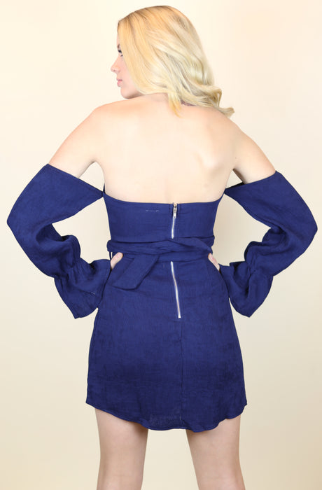 Navy Off Shoulder Corduroy Dress