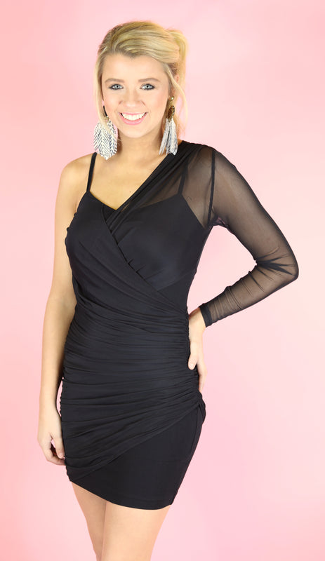 Glam Queen One Shoulder Dress, Black