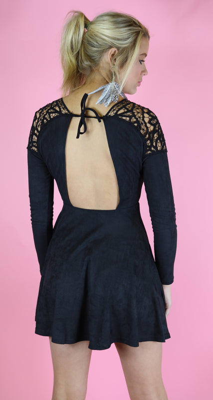 Suede and Lace Flare Dress, Black