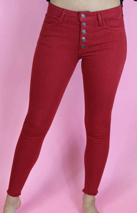 Button Down Skinny Jeans by Just Black Denim, Apple Red