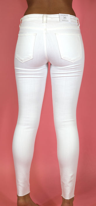 White Distressed Skinny Jeans by Just Black Denim