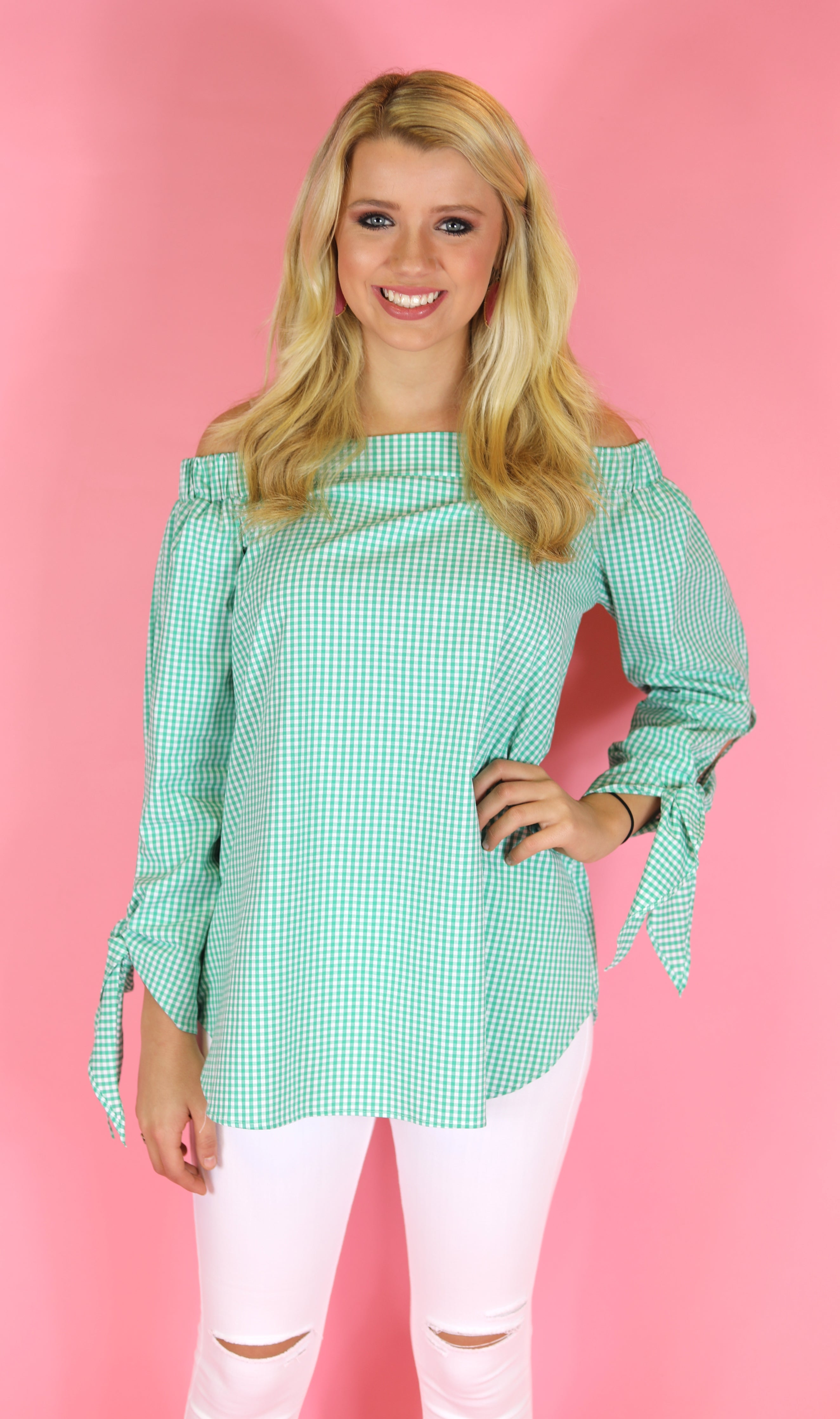 Picnic Plaid Off Shoulder Top, Green