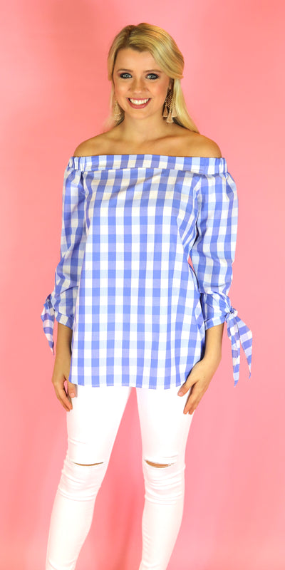 Picnic Plaid Off Shoulder Top, Blue