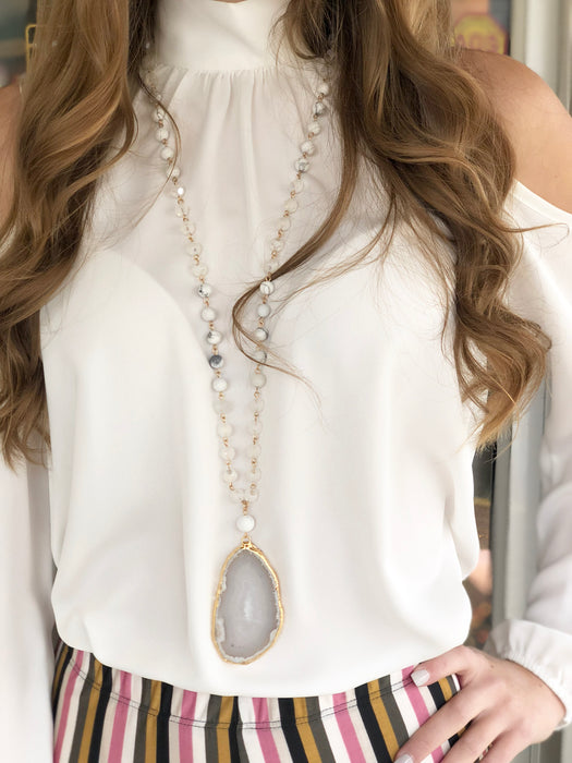 White Cold Shoulder Blouse