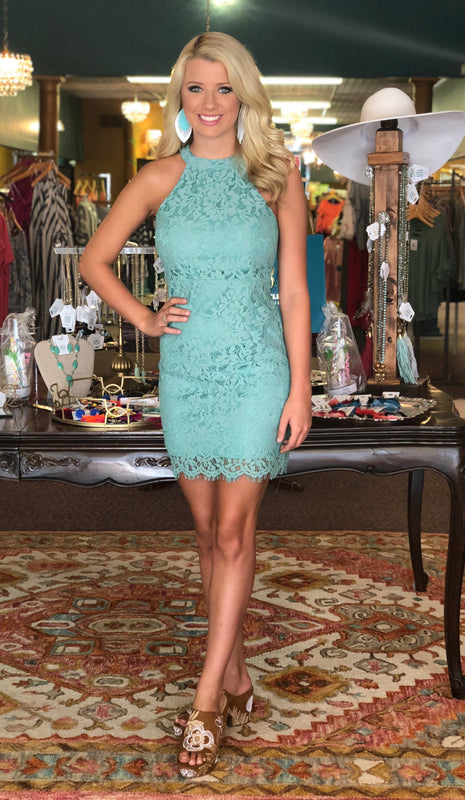 Green With Envy Lace Dress, Mint
