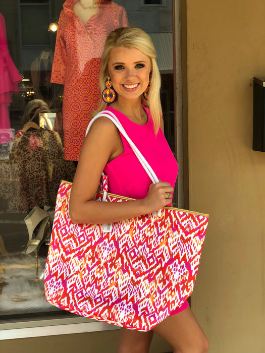 Hampton Beach Bag, Hot Pink & Orange Coral Reef