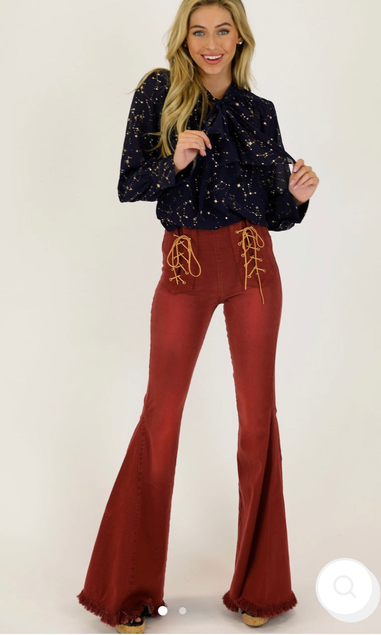 Judith March Rust Flares with Lace Up Detail