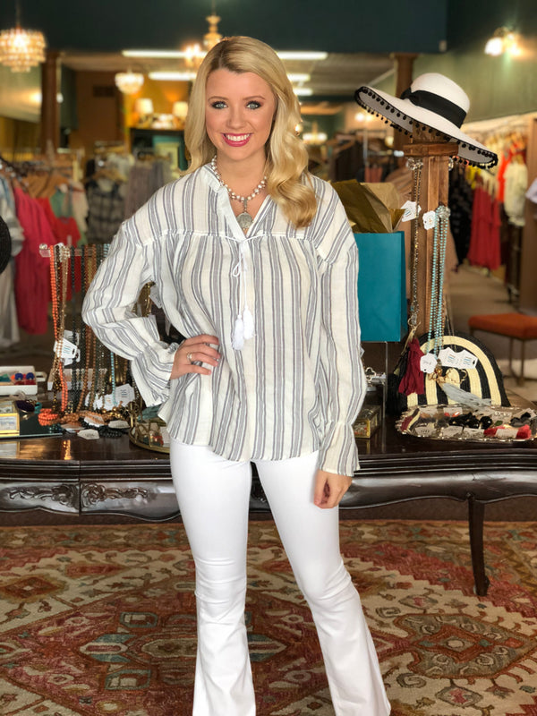 Blue & White Striped Peasant Tunic by Karlie