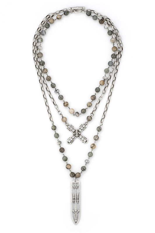 French Kande TRIPLE STRAND MEDITERRANEAN MIX WITH SILVER WIRE, ALSACE CHAIN, SWAROVSKI FRENCH KISS AND SWORD & CROWN PENDANT