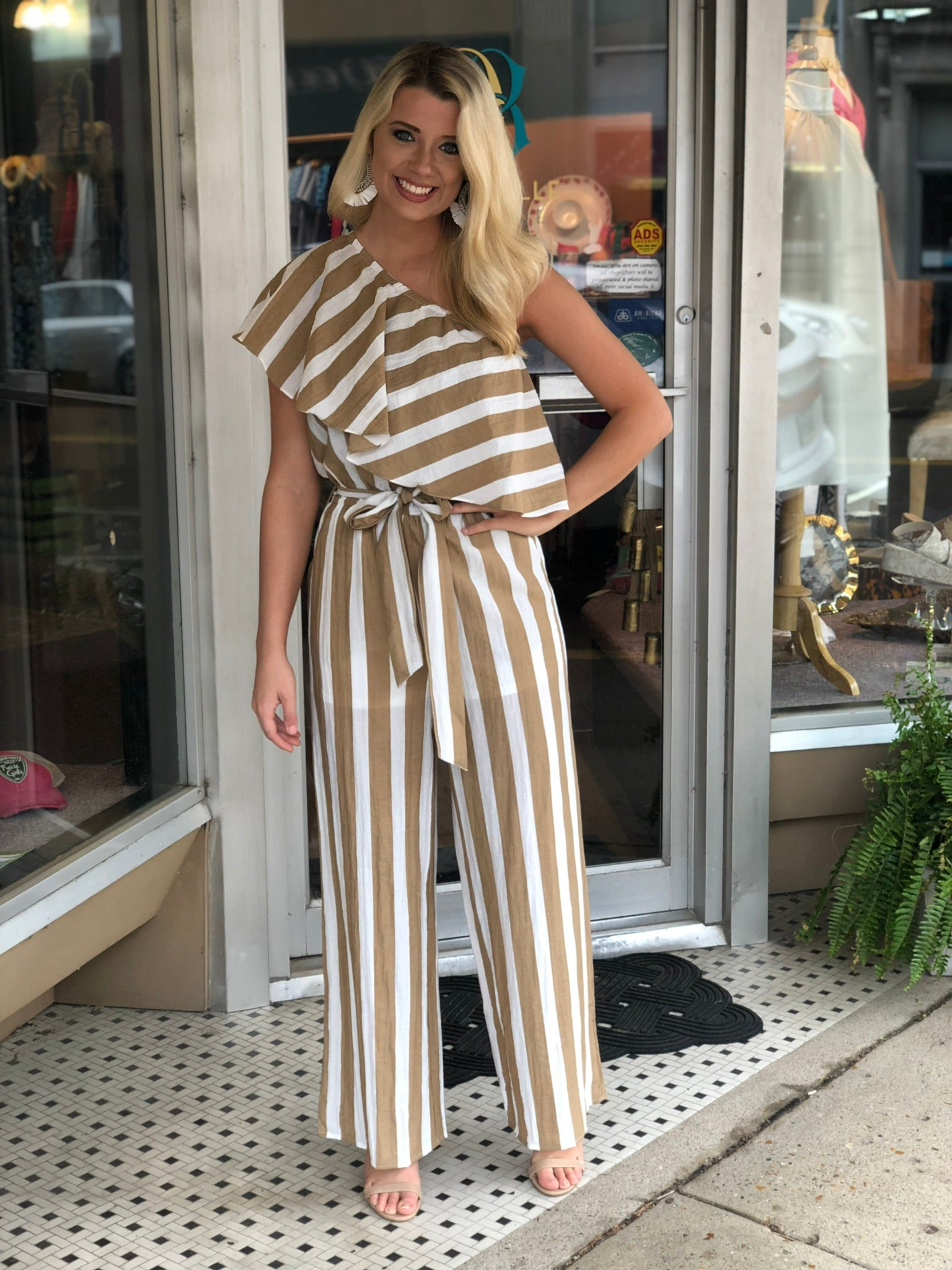 Taupe & White Jumpsuit