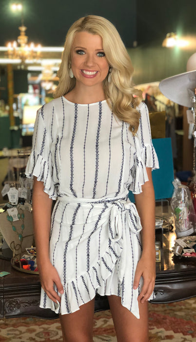 White Wrap Dress with Navy Stripes by Karlie