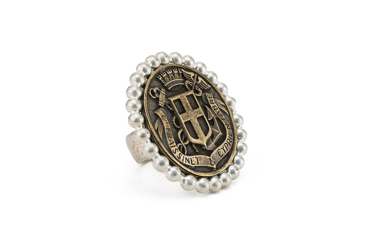 FRENCH KANDE PETITE BEZEL RING WITH BRASS FABRE MEDALLION