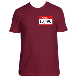 Hello my name is lucifer shirt red