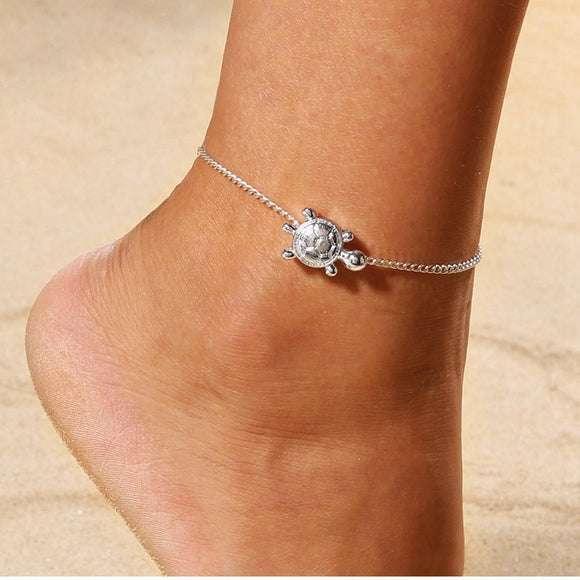 Sea Turtle Silver Anklet