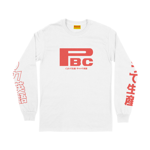 "Produced By Chuck ""Japan"" long sleeve tee white"