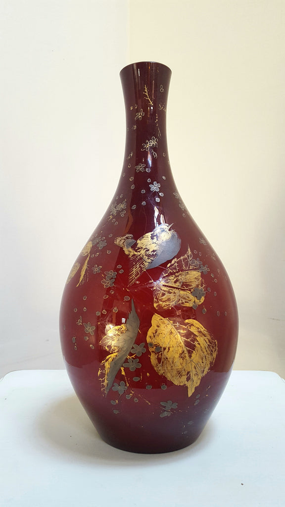 Cased Red Vase with Gilded Decor