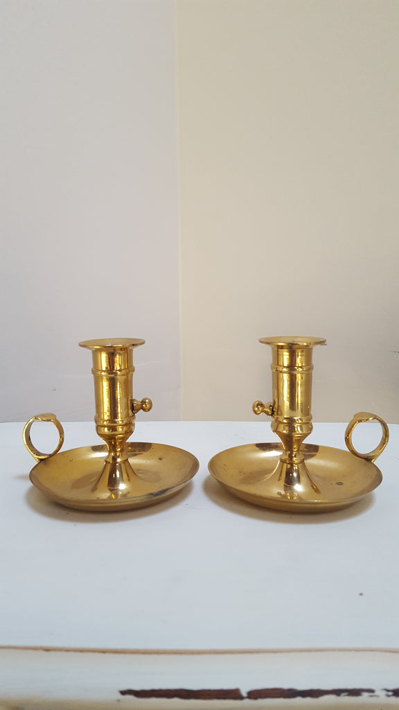 Pair of Adjustable Brass Candle Holders