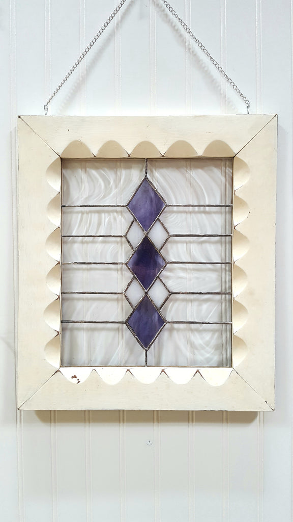 Stained Glass in White Vintage Frame