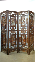 Beautiful Wood-Carved Asian 4-Panel Folding Screen