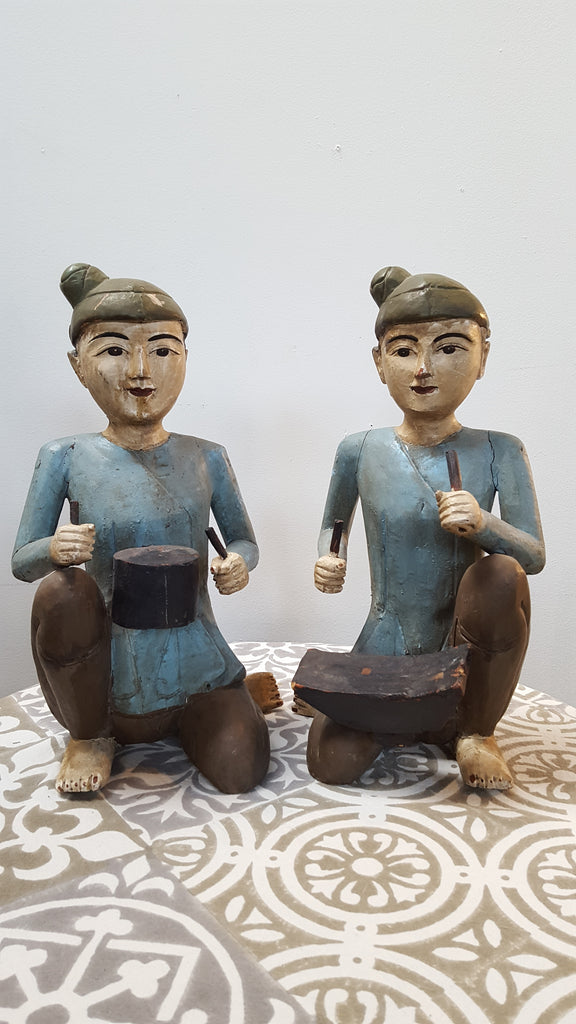 Pair of Antique Wooden Asian Musician Figures - Late 1800s