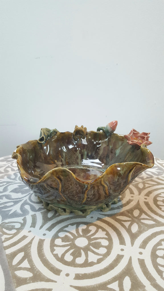 Vintage Toad & Lily Pottery Bowl