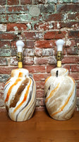Pair of Marbled Abstract Vintage Lamps