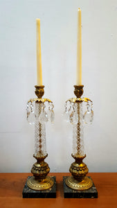 Pair of Candlestick Holders with Prisims