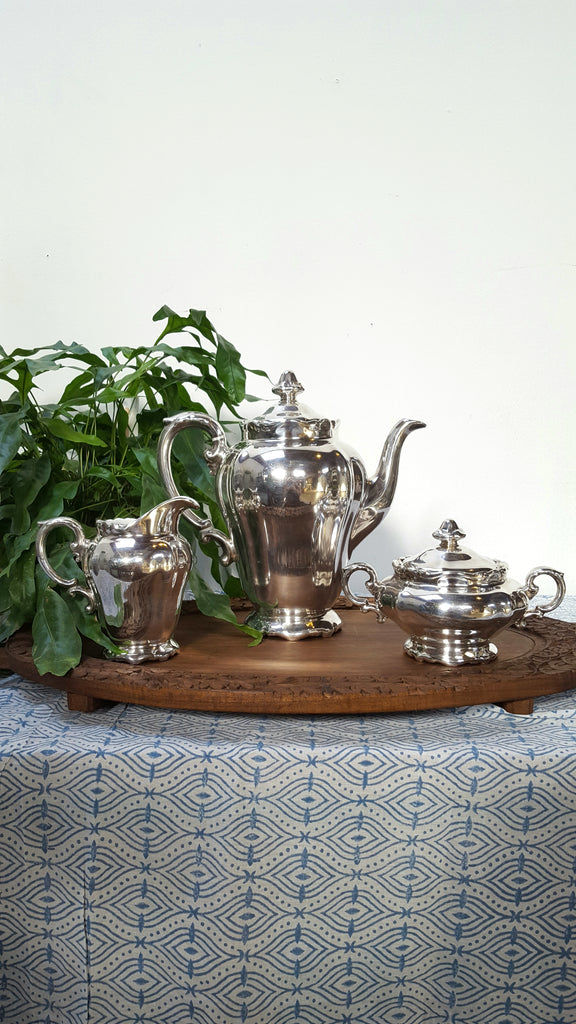 Heinrich Porzellan Coffee Set with Silver Plate