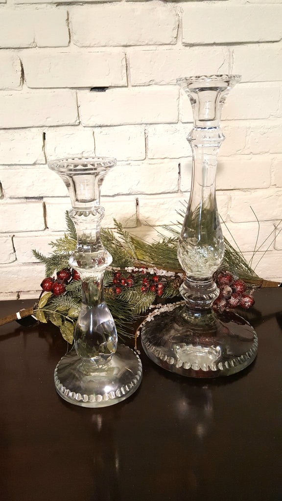 Set of Two Crystal Candlestick Holders