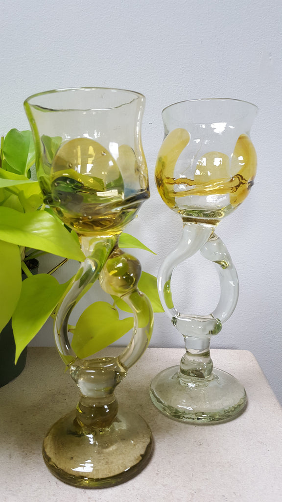 Pair of Handblown Goblets