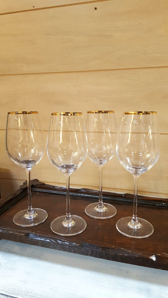 Set of 4 Italian Crystal Gold-Tipped Wine Glasses