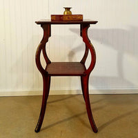 Tiger Maple Side Table With Brass Trim and Leg Decor