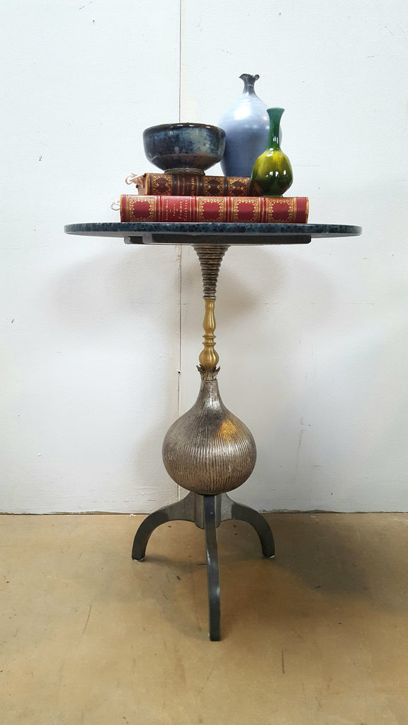 Ironies Small Round Faux Marble & Iron Table