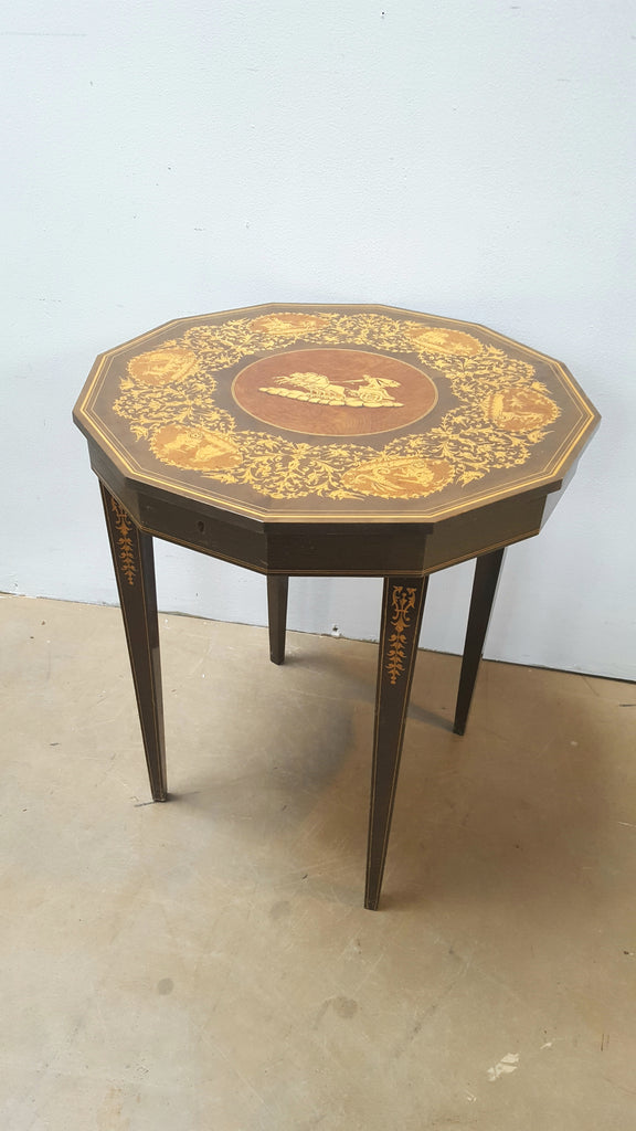 Inlaid Wooden Music Box Table