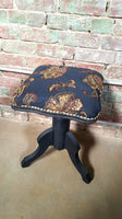 Blue Floral Upholstered Piano Chair