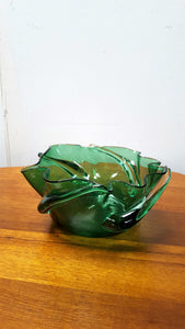 Blown Glass Green Bowl