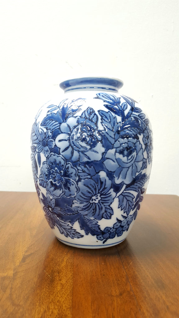 Blue and White Embossed Vase