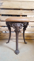Cast Iron-Legged Stool