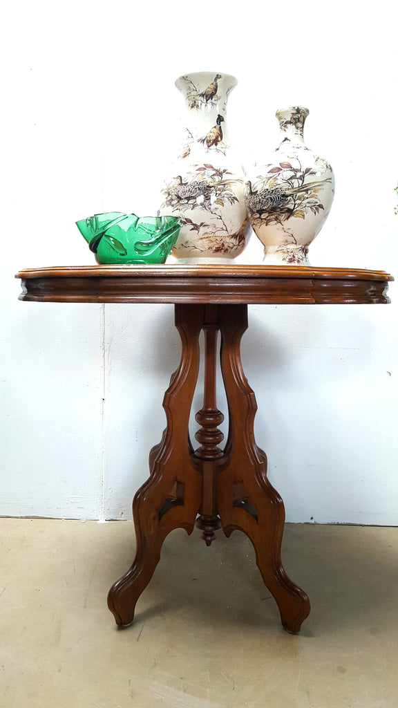 Carved Gothic Revival Side Table