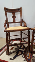 Pair of Eastlake Chairs with Woven Seats