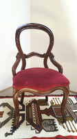 Early Victorian Balloon-Back Dining Chair with Red Velvet Seat