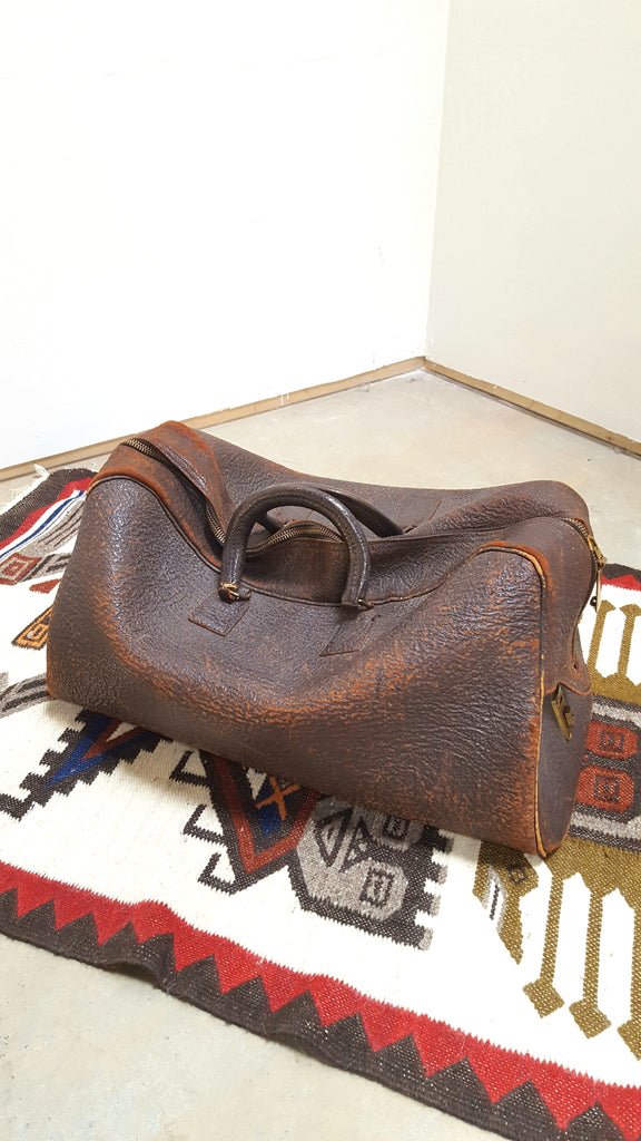Large Leather Bag with Brass Zipper