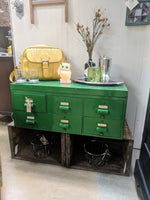 Vintage Locking Drawer Cabinet in Bright Green