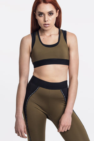 Olive and Black Double Layer Sports Bra by Okayla