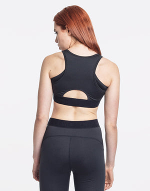 Women's Black and Grey Cut-out Sports Bra by Okayla