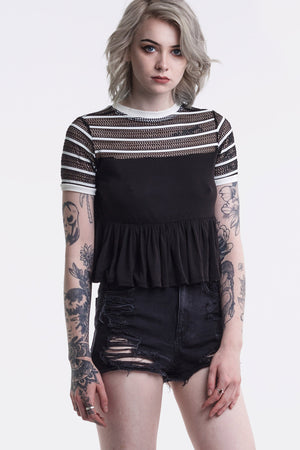 Black Stripe Mesh Frill Hem T-Shirt by Okayla