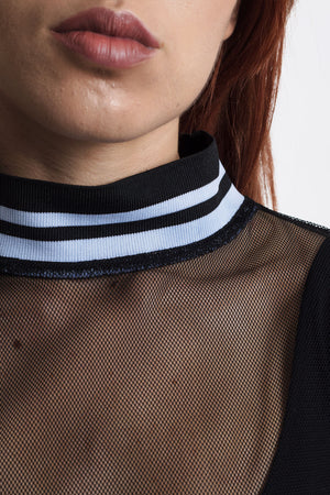Black Mesh T with Striped Rib by Okayla