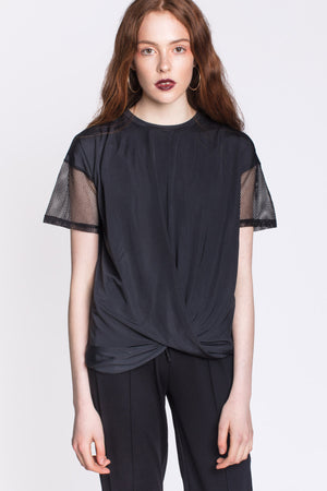 Black T-Shirt with Mesh Sleeves and Twist Front by Okayla
