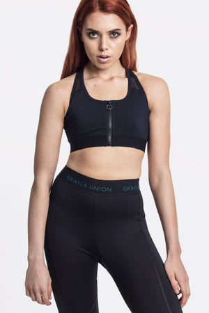 Black Zip Front and Mesh Sports Bra by Okayla